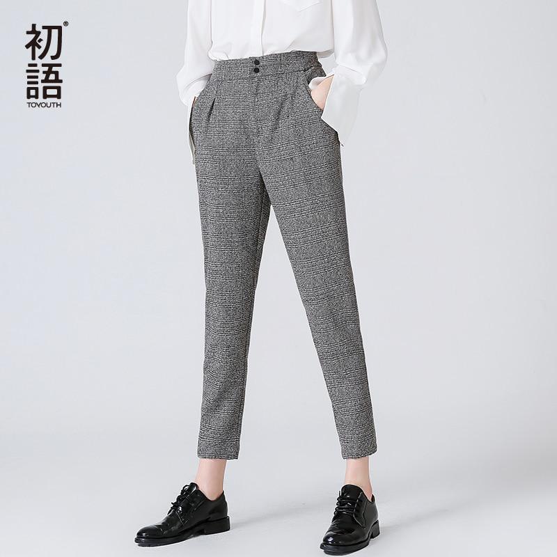 Toyouth Women's Pants Fashion Autumn Winter Vintage Gray Grid Casual Pants Women Pants Trousers Female Streetwear Capris Pants