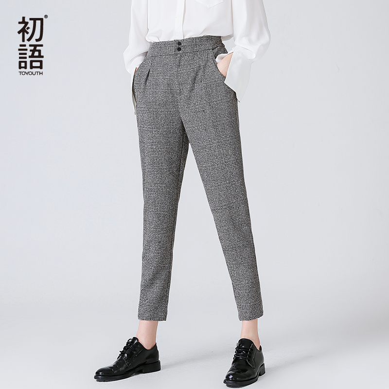 Toyouth Women's   Pants   Fashion Autumn Winter Vintage Gray Grid Casual   Pants   Women   Pants   Trousers Female Streetwear   Capris     Pants