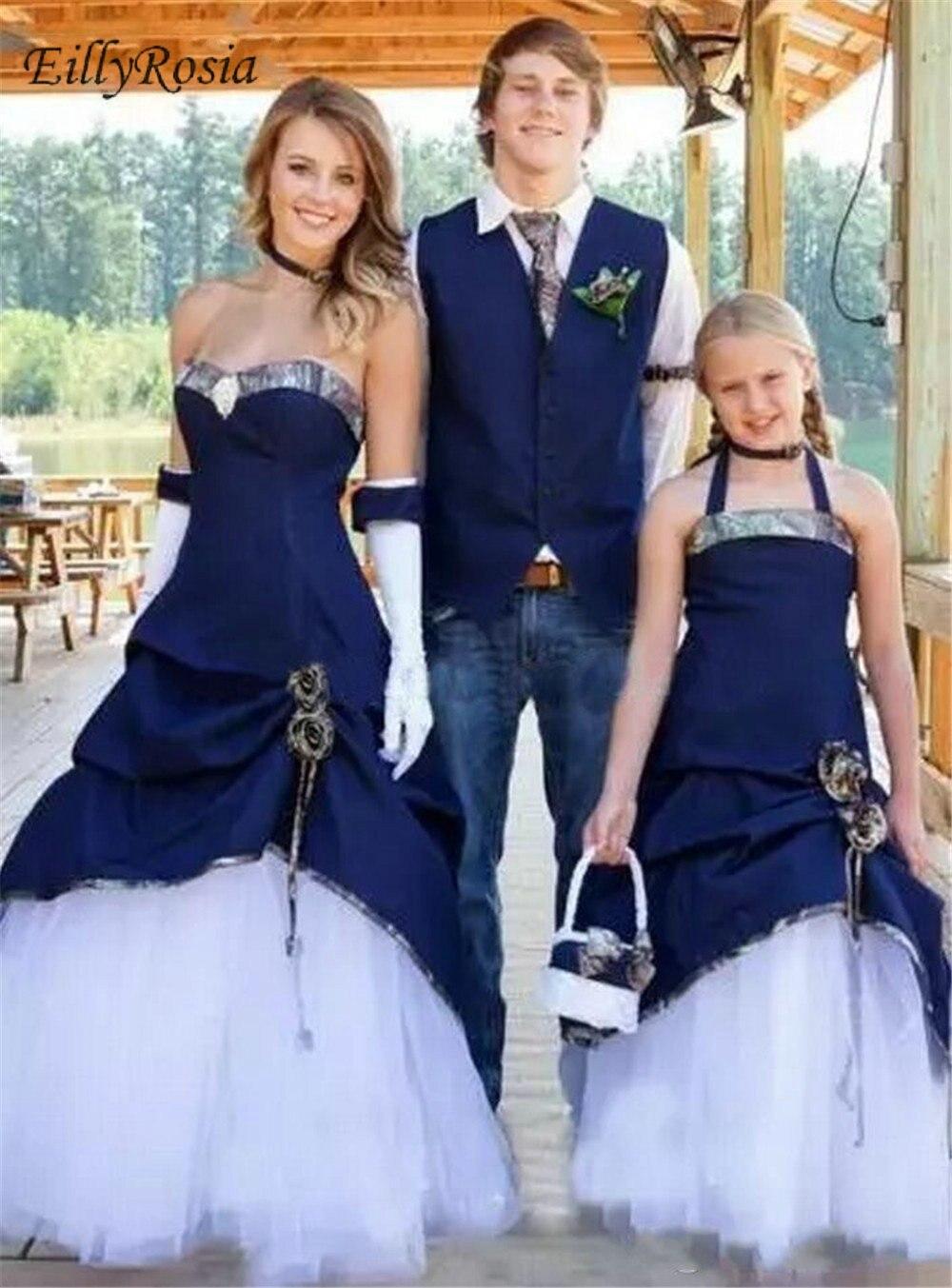 Conception Unique Camo robes de mariée bleu marine Satin blanc Tulle trompette Cowboy Style champêtre robes de mariée robe de mariée noiva 2019 - 2