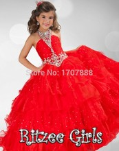 2017 Girls Pageant Dresses Ball Gown Halter Organza Red Squins Beaded Crystal Tutu Little Baby Flower Girl Dresses For Weddings
