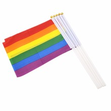 2017 Hot Sell 200pcs the Small Rainbow flag 14*21CM Gay Pride Hand Flag the hand waving flag with Pole