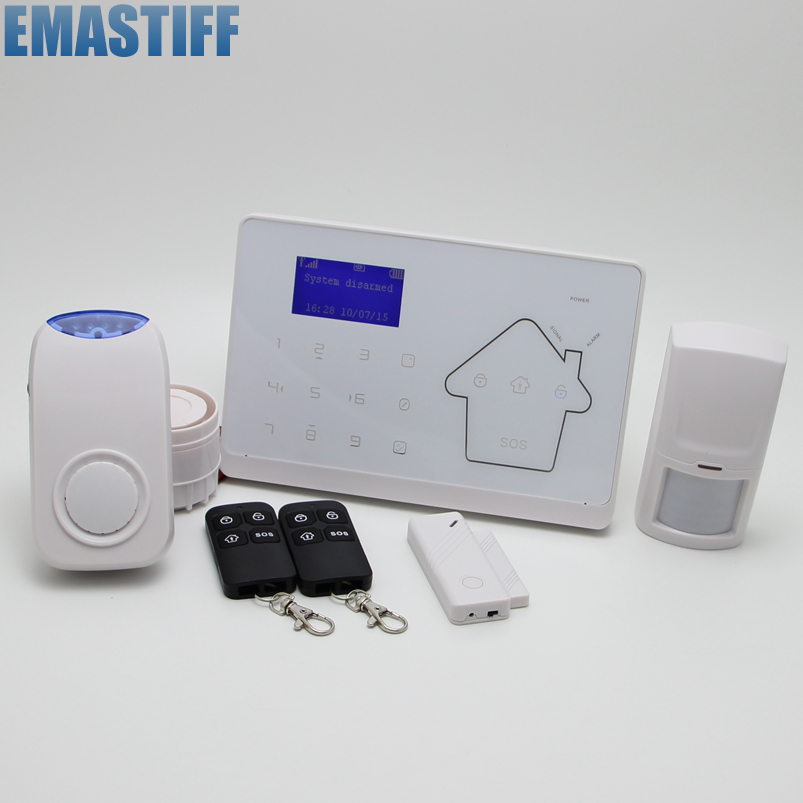 GSM IOS Android APP Touch Screen Keypad+LCD display 10 Wireless Zone GSM PSTN Home Security  French Voice Alarm System