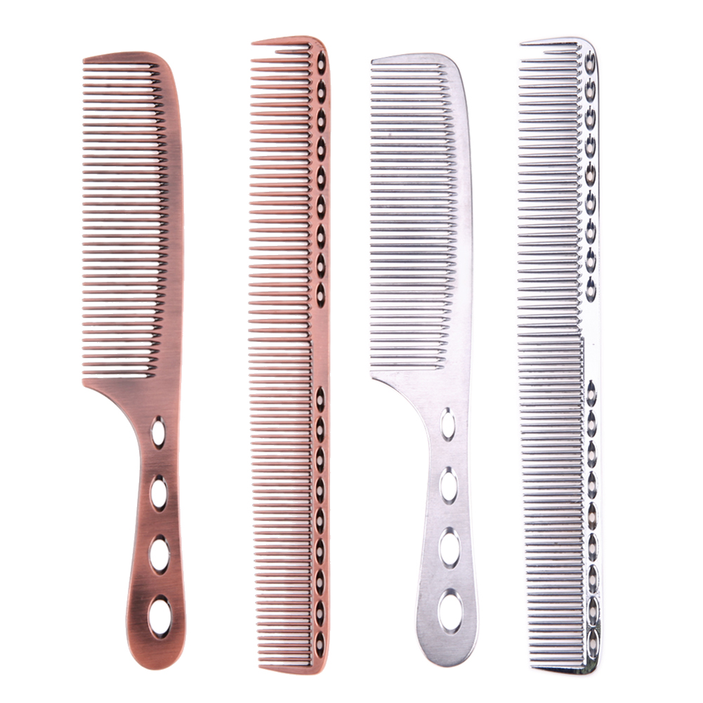 2pcs Stainless Steel Anti-static Hair Combs Pro Salon Hair Styling Hairdressing Carbon Hair Care Barbers Handle Brush chuxin solid wood 3 anti static combs kit with cask 3 sizes beech combs with massage function for scalp oval sculpt