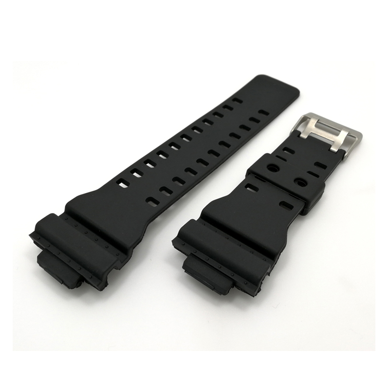 16mm PU Rubber Watchbands Men Black Sport Diving Silicone Watch Strap Band Metal Buckle For g-shock Watch Accessories t rrce expert black silicone rubber strap t048 watch band for t048417a 21mm