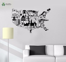 YOYOYU Vinyl Wall Decal In God We Trust United States Map Travel Interior Art Modern Home Decoration Stickers FD261
