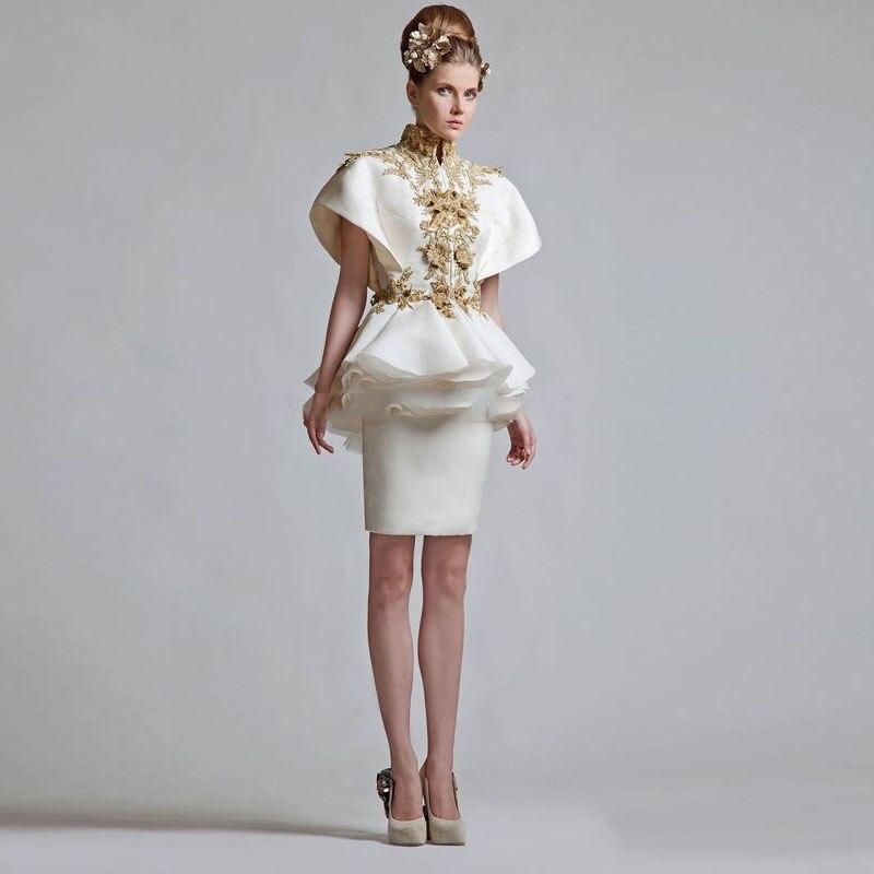 New Design Short Formal   Evening     Dress   2019 Women Suit Unique Applique Elegant   Evening   Party   Dress   Ruffles Modst Ball Prom Gown