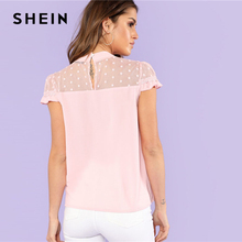 SHEIN Pink Embroidery Mesh Yoke Weekend Casual Blouse Women Stand Collar Cap Sleeve Lace Plain Blouse 2018 Summer Elegant Blouse