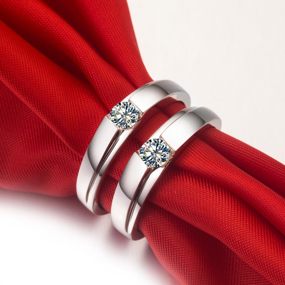 crown double band silver wedding rings for couple couples wedding bands stunning silver wedding rings for couples 9