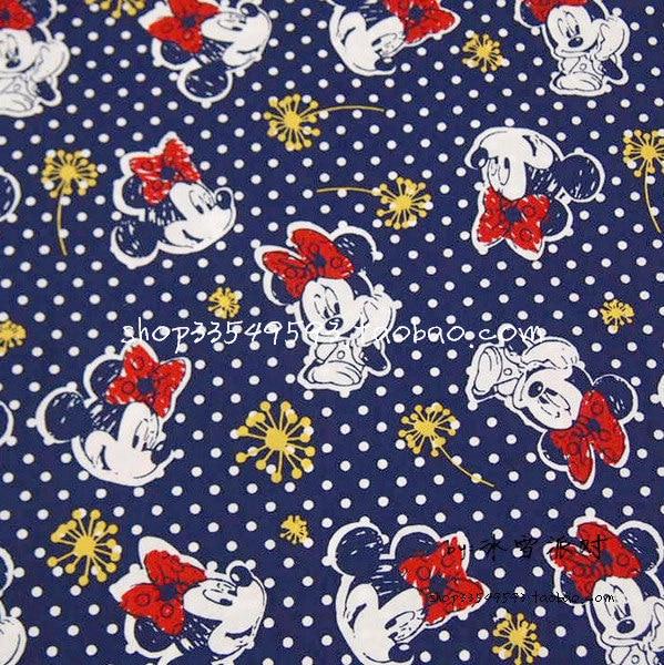 Tessuto Dark cm Blue 140X100 Margherita Bianchi di Pois Minnie Mouse 8a7d5qw