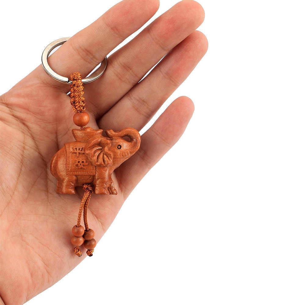 ธรรมชาติ Amulet ช้างไม้แกะสลักจี้คีย์ Keychain แหวน Llaveros Mujer Charms รถกระเป๋าพวงกุญแจ