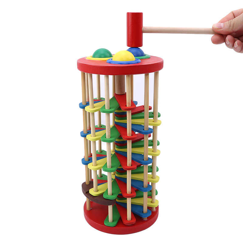 Creative Pound And Roll Wooden Tower Rolling Off Ladder Hammer Knock The Ball Early Education Baby Toys