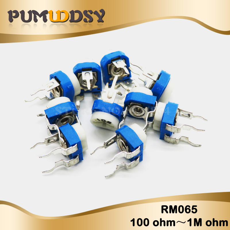 50pcs RM065 RM-065 100 200 500 1K 2K 5K 10K 20K 50K 100K 200K 500K 1M Ohm Trimpot Trimmer Potentiometer Variable Resistor