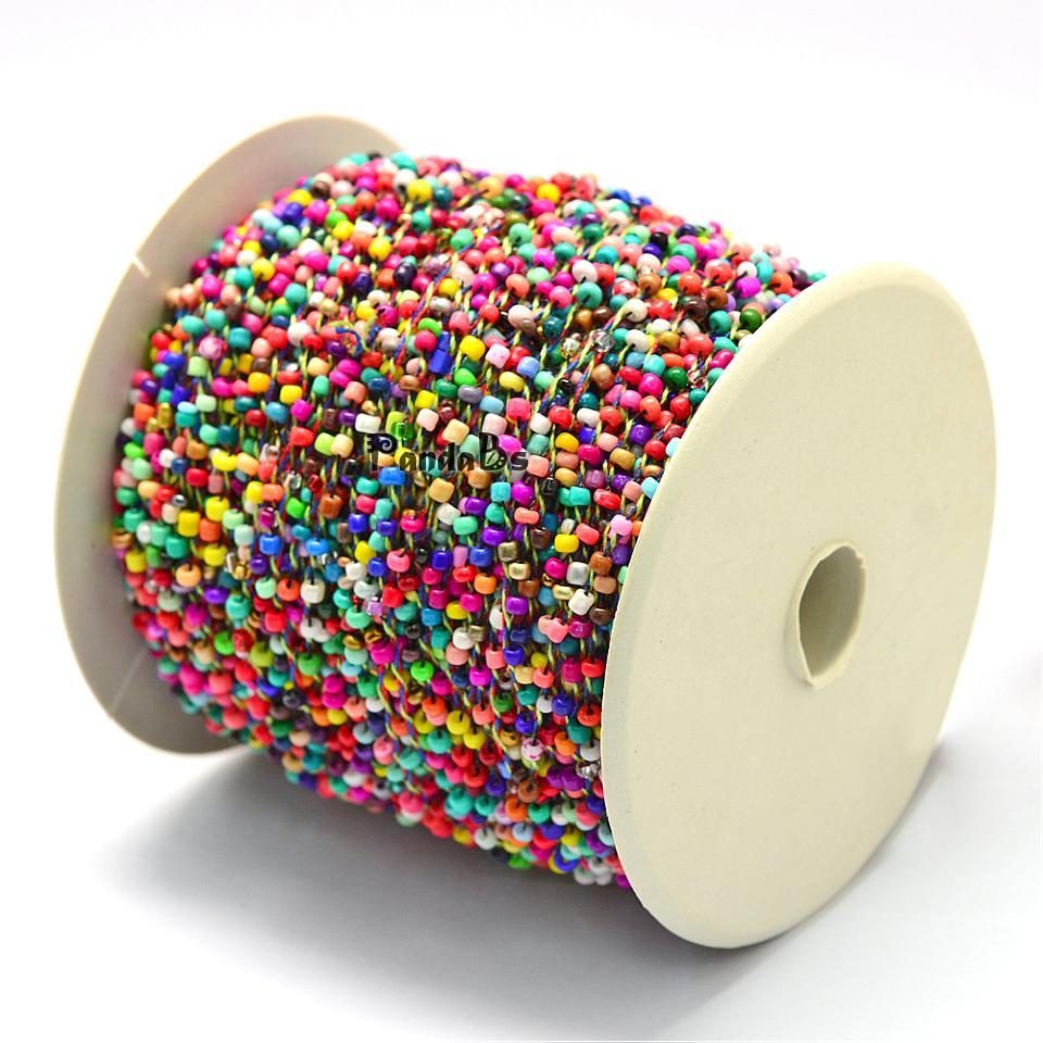 2 мм 100 ярдов/roll красочный непрозрачные семян Boho маленькие бусинки кордная нить для ювелирных изделий делает DIY Аксессуары полиэстер Шнуры