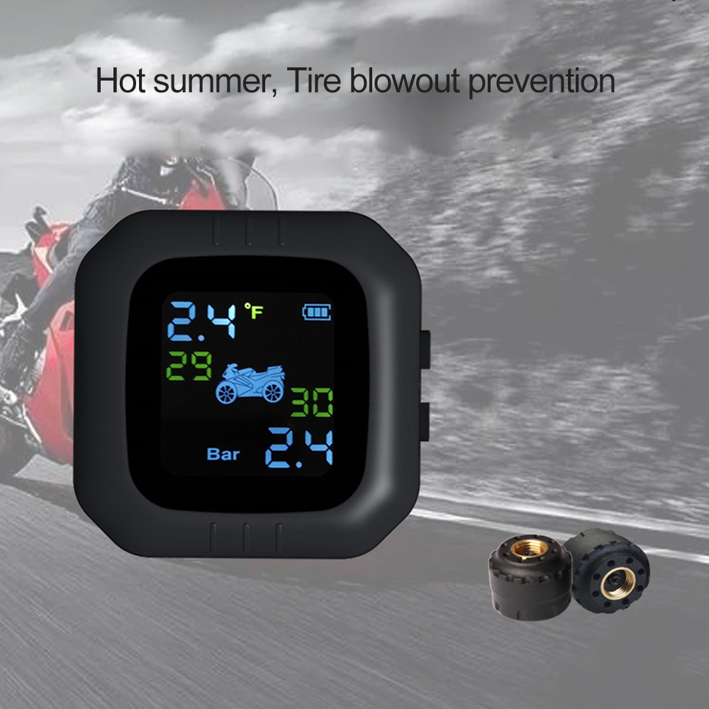 Motorcycle TPMS Tire Pressure Monitor System Temperature with 2 External Sensors