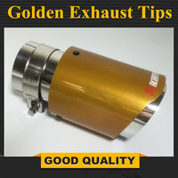 1PCS Inlet 54mm Outlet 89mm Akrapovic Golden Exhaust Tip Muffler Pipe For BMW BENZ AUDI VW