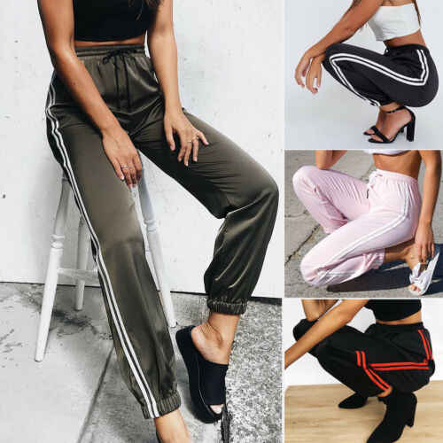 2019 New Fashion Women Sexy Pants Striped Side Loose Drawstring Elastic High Waist Slim Pencil Casual Long Trouser