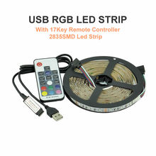 USB LED Strip 2835 RGB TV Background Lighting Kit Cuttable with 17Key RF Controller 1M 2M 3M 4M 5M,Waterproof or Non waterproof