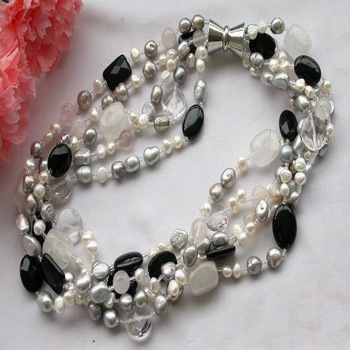 New Arriver Pearl Jewellery,5Rows 19inch Gray White Baroque Freshwater Pearl Crystal Aga-te Neckalce,Fashion Women Party Gift