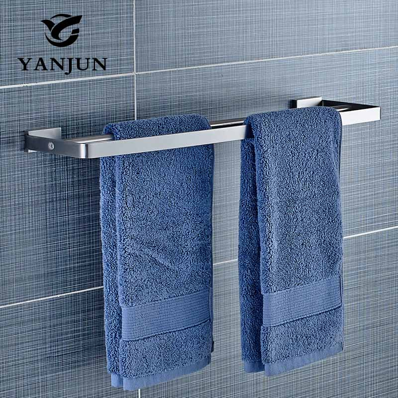 Wall-mounted 304 Stainless Steel Towel Rails Double Towel Bars Towel Racks Popular Towel Holder Bathroom Kitchen YANJUN-81948 free shipping bathroom accessories products solid 304 stainless steel nickel brushed double towel bars towel holder sus003
