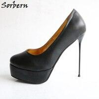 Sorbern пикантные слипоны тонкие Сталь каблуки Для женщин насосы круглый носок туфли на каблуке и платформе 16 см обувь унисекс экзотические ка