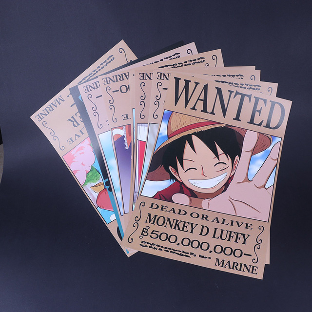 9pcs new design one piece wanted dead or alive luffy zoro sanji chopper poster 42x29cm sticker