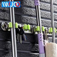 IWJOO Bathroom Stainless Steel Broom Handle Key Hook Storage Rack Toilet Mop Umbrella Wall Mount
