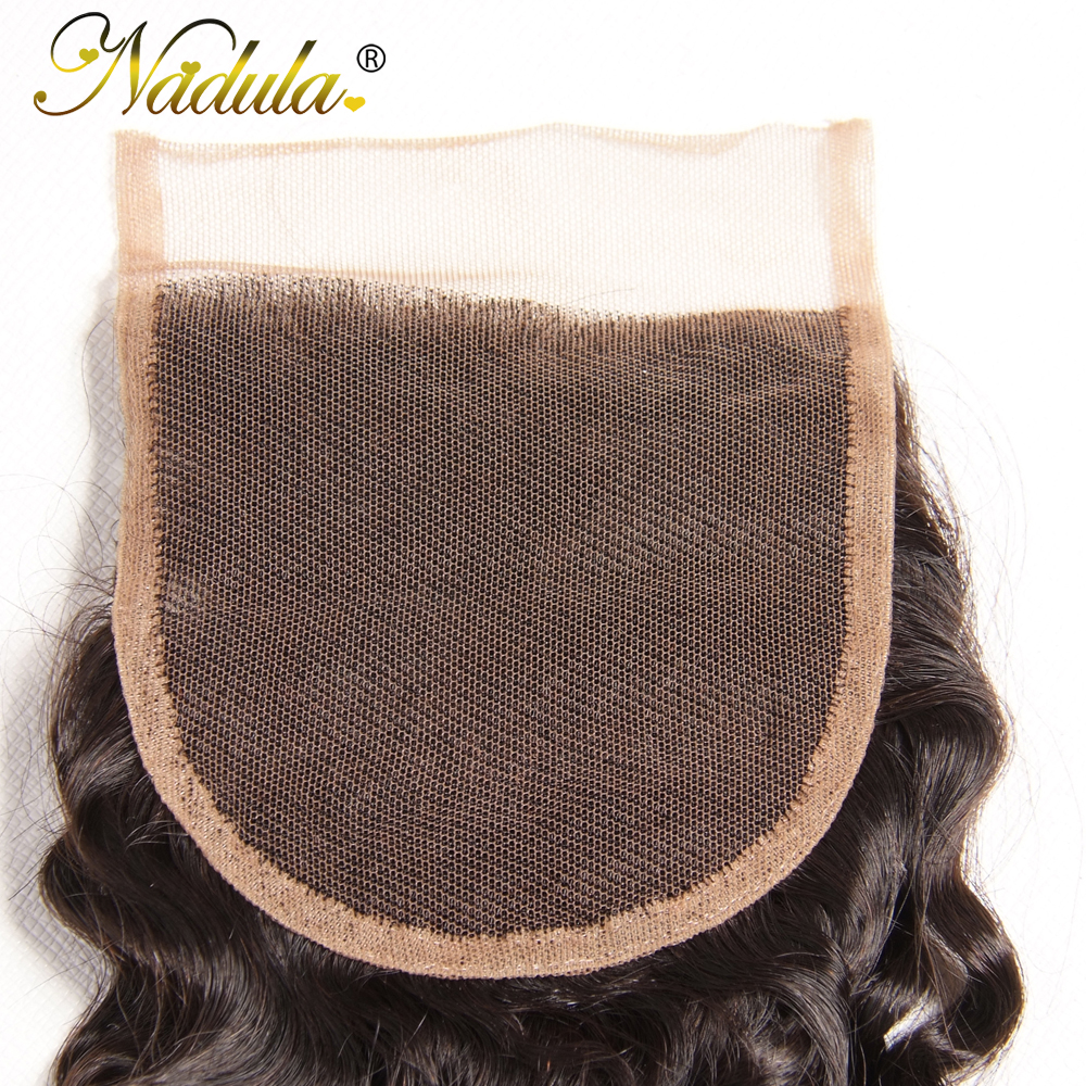 Nadula Hair 4/3 Bundles With Closure  Curly Hair Bundles With 4*4 Lace Closure 100%  Hair s Natural Color 6