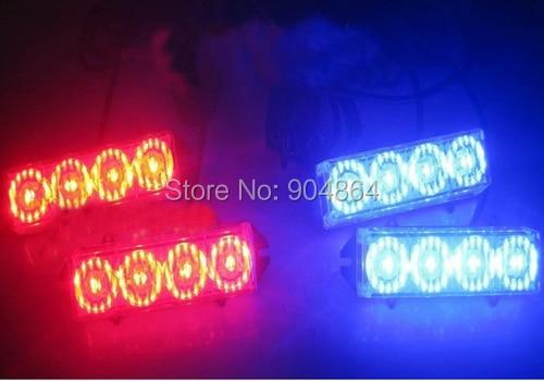 Car 4*4 16 LED warning lights Flash Light.Police  Light Flashing Emergency Firemen Lamp 6 Mode 12V. Red + blue light