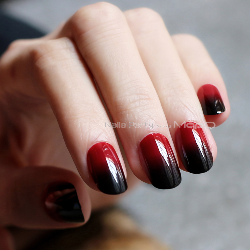 Oval Fake Nails Red And Black Gradient Gothic Medium H Shape Vampire