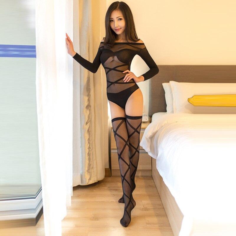 Sexy Black Sheer Jacquard Weave Cross Bandage Stripe Long Sleeves Teddy With Long Stocking Lingerie Set Bodysuit Hot Erotic