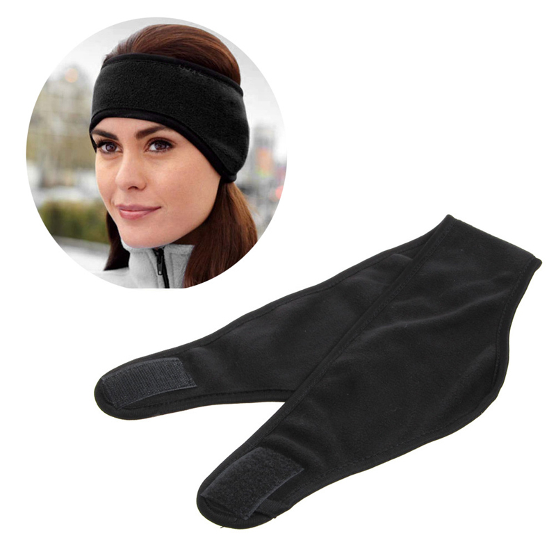 Women Men Winter Black Double Polar Fleece Warm Headband Ear Cover Ear Wear Wrap Ear Protection Unisex Solid