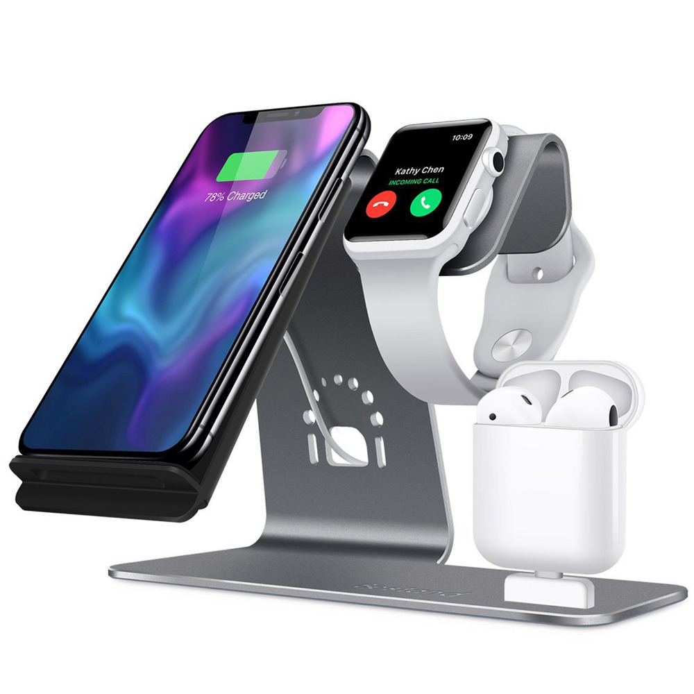 3 in 1 Aluminum Stand Holder for Apple Watch/Airpods Charging Station Qi Wireless Fast Charger for iPhone X/8 Samsung S8 crested charger for apple watch band iwatch series 4 3 2 1 qi wireless iphone x 8 plus samsung 10w fast charging dock station