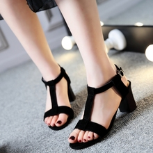 Genuine Leather Big Size 34-44 high heels sandals