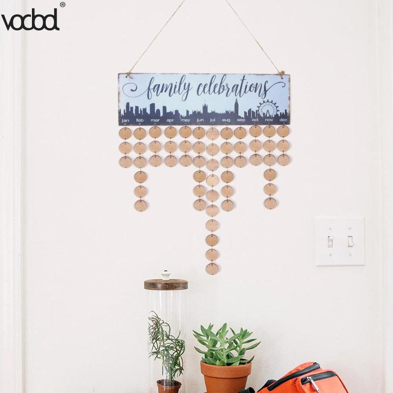 New DIY Wooden Wall Hanging Calendar Family Friends Birthday Special Dates Reminder Sign Planner Mark Board Home Decor Gift vodool diy wooden birthday calendar family celebrations wall calendar write special dates planner board hanging decor gifts