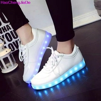 HaoChengJiaDe Luminous Sneakers Tenis Feminino Basket Led Enfant Light Up Trainers Kid Casual Boy Girl Led