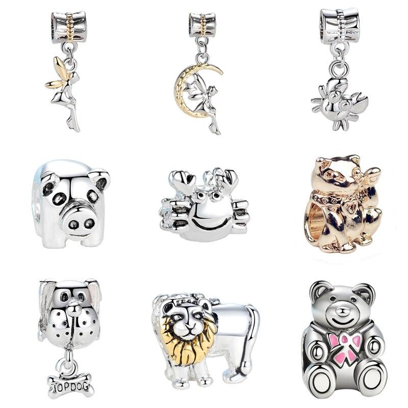 Jewelry Silver Plated Bead Charms Cute Animal Lion Turtle Elephant Teddy Bear Frog Cat Pig Fit Pandora DIY Bracelets & Bangles