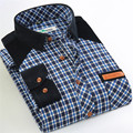 Hot sale  Promotion 2016 Autumn/winter thick flannel Patchwork  solid collar Plaid men's casual shirts high quality  male tops