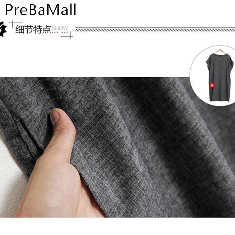 2019 Fashion Summer Dress Women Solid Linen Elegant Short Sleeve Loose Loose Dresses Grey Streeetwear Vestidos Hot Sale C193 in Dresses from Women 39 s Clothing