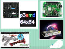 free shipping DIY LED display 10 pcs P3 indoor SMD Led Module (192*192mm)+RGB asynchronous led controller+power supply
