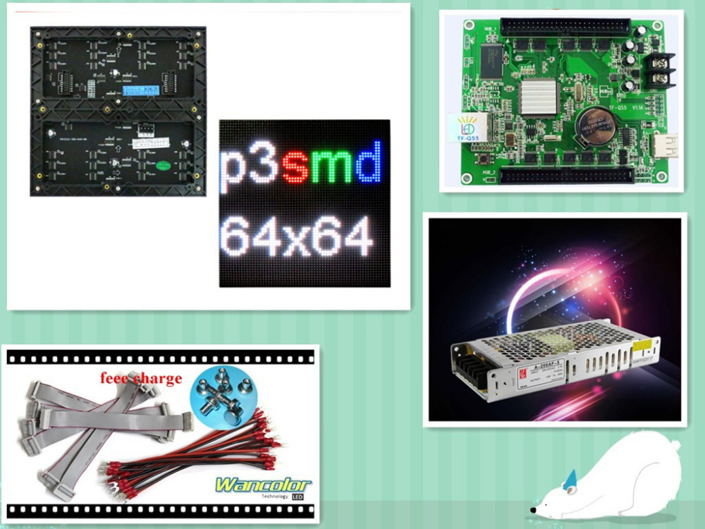 free shipping DIY LED display 10 pcs <font><b>P3</b></font> indoor SMD Led <font><b>Module</b></font> (192*192mm)+RGB asynchronous led controller+power supply image