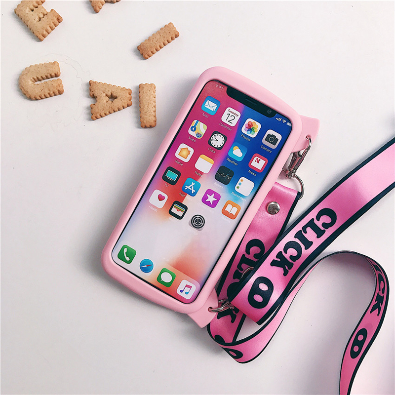 3D Cartoon Pig Case with Lanyard for iPhone XS MAX XS XR 7 8 6S plus 8 plus Cases with Finger Ring Holder Camera Cover Silicone in Fitted Cases from Cellphones Telecommunications