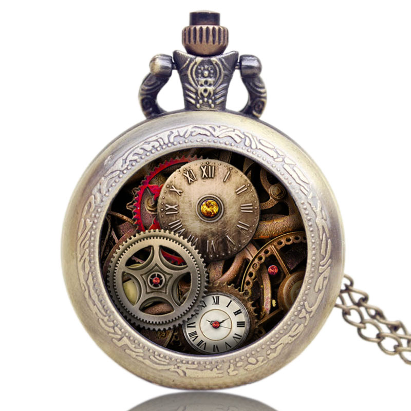 Antique Gear Roma Numbers Glass Dome Quartz Pocket Watch Steampunk Fob Clock With Necklace Chain Men Women Gift Free Shipping antique retro bronze car truck pattern quartz pocket watch necklace pendant gift with chain for men and women gift