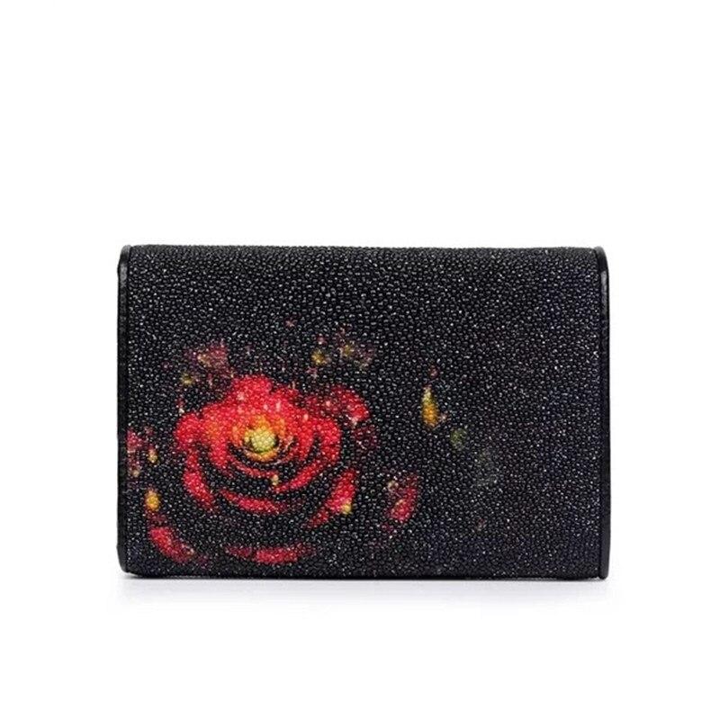 Dames Designer Court Poche Véritable Monnaie Thaïlande Bourse Étincelle Portefeuille À De Peau Floral Noir Poisson Femmes Perle Mode En Cuir Trifold 64Wfq5w5