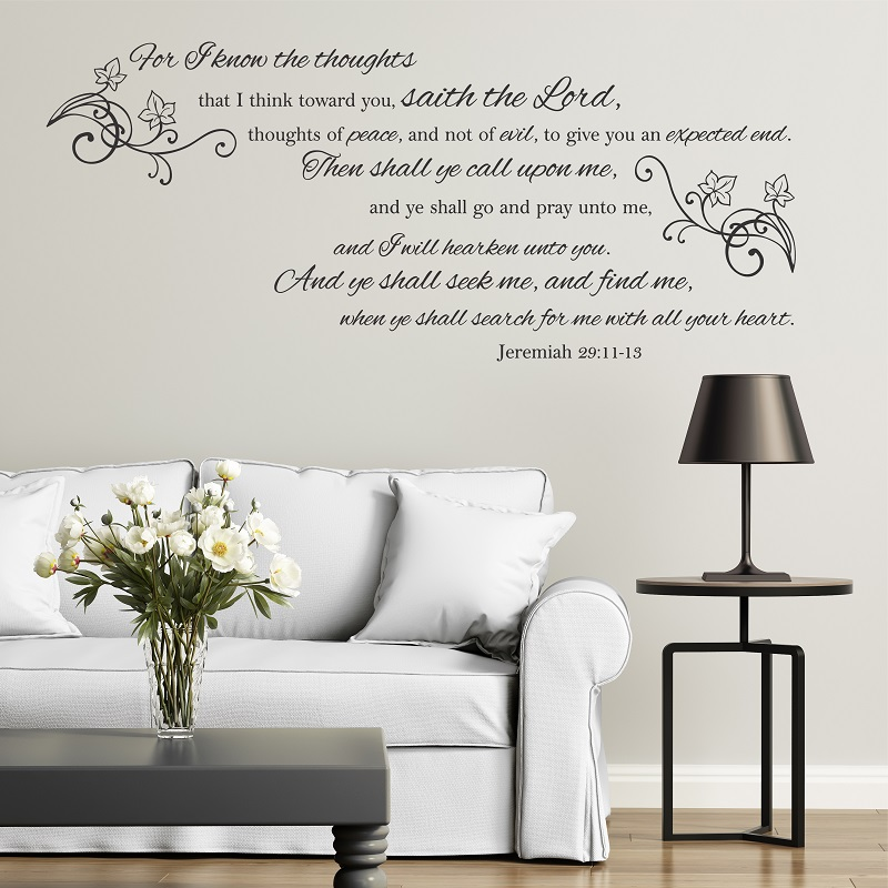 Image 1 - Jeremiah29  11 13 Bible verses Spanish vinyl wall stickers Christian living room bedroom wall stickers decorative wallpaper2SJ14-in Wall Stickers from Home & Garden