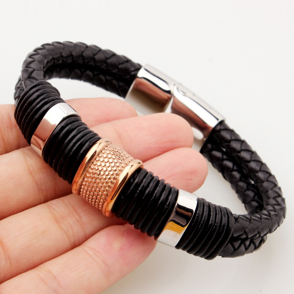 Charm Rose Gold Color Jewelry Men's Black Leather Chain Bracelet&Bangle 12mm Wide Silver Color Stainless Steel Magnet Clasp
