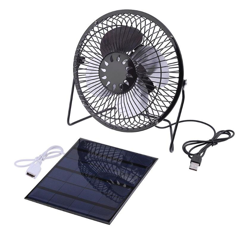 Solar Panel Powered Iron Fan Cooling Cooler Ventilation