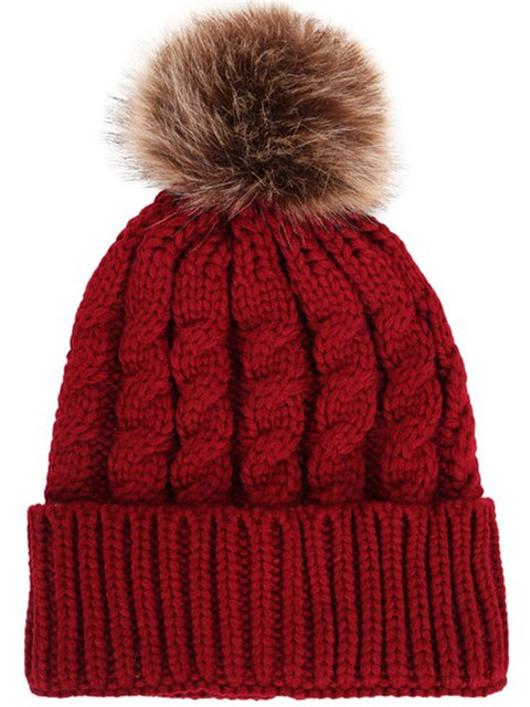 71583855572 Women girls Winter cable Knit Faux Fur Pompoms faux fur pom pom Beanie Hat