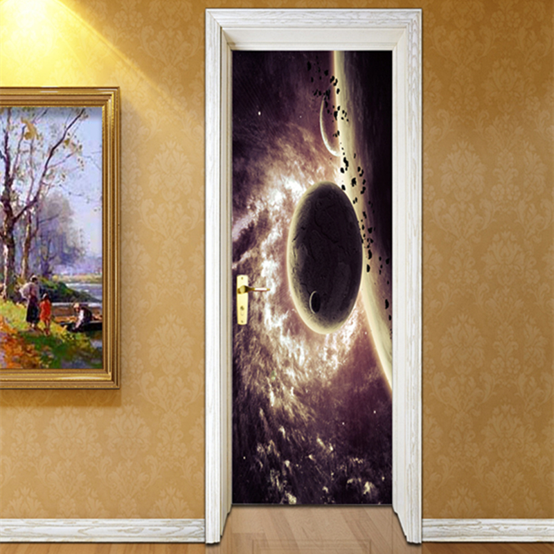 DIY PVC Door Stickers Self-adhesive Wallpapers for Walls 3D Space Planet Vinyl Wall Papers Home Decor Bedroom Walls Stickers chic quality diy romantic recent pattern wall stickers for home decor
