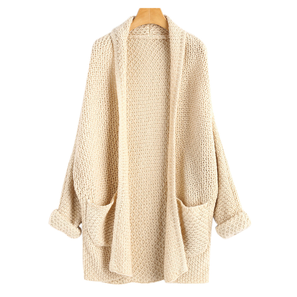 CharMma 2017 New Autumn Fashin Open Front Curled Long Sleeve Batwing Cardigan Casual Solid Pockets Loose