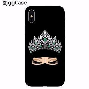 Image 4 - Musulman islamique Gril yeux arabe Hijab fille housse de téléphone pour iPhone X 8 8plus 7 7 Plus 6 6 s Plus 5 5 S SE noir protecteur Shell